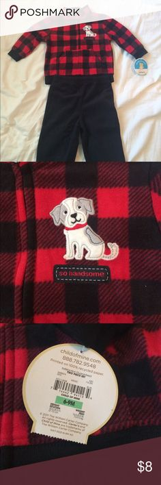 """NWT carter's baby boy  fleece 2 piece set. 6-9 mos NWT carters red and black plaid sweatshirt with matching black fleece pants. Emblem is of a dog and says """"so handsome"""". Handsome it is! Carter's Matching Sets"""
