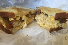 "Avenue Deli in New Rochelle, NY ""Chicken cutlet and mac n cheese are sandwiched in between two pieces of buttery, garlicky bread"" -6 Out-Of-This-World Crazy, Delicious Westchester Sandwiches"