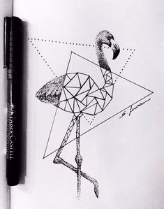 Flamingo dotwork + geometrical tattoo design.