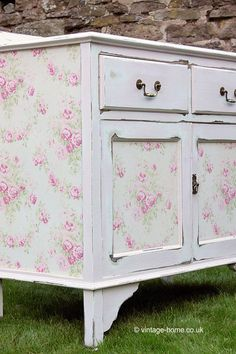 Vintage Home - Pink Painted and Rose Garland Wallpaper Cupboard.