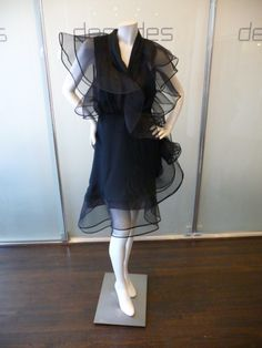 Jacqueline de Ribes black chiffon short cocktail dress with horsehair ruffles, c.1980's.