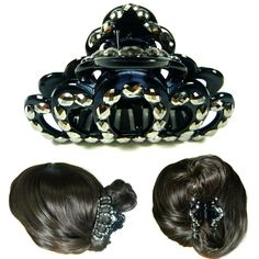 Big Large Tiara Crown Black Plastic Crystal Hair Claw Clamp Pin Jaw Clip Fashion #Jacc #Claws #Everyday