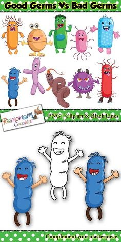 Not ALL Germs are bad! This clip art set is designed to help educators teach children that some germs are bad, some are good and some are can be both bad and good :p  #ramonam #ramonamgraphics #clipart #germs #germsclipart #goodgerms #badgerms #virusclipart #bacteriaclipart #keepingsafeclipart #coronavirus #covid19