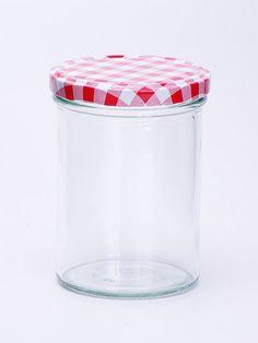 Sturzglas 440ml mit rot-kariertem Deckel in 82mm Zum Befüllen von Marmelade, Obst, Gemüse etc. Höhe: 114,5mm; Durchmesser: 77,3mm Sterilisationsfester Deckel bis 120 Grad Deckel nicht für ölhaltige Füllgüter geeignet Qualitätsglas aus Deutschland
