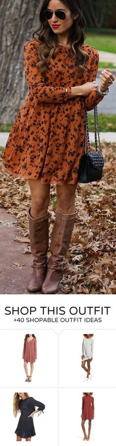 #winter #fashion /  Orange Print Dress / Black Shoulder Bag / Brown Leather OTK Boots