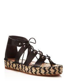 Loeffler Randall Ghillie Lace Up Flatform Espadrille Sandals