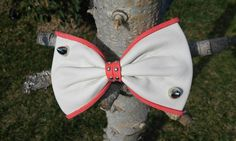 Girly leather bow Pink bow Bow with spikes White bow by Zozelarium Leather Bow, Real Leather, Bow Bow, Barrette Clip, Rock Style, Spikes, Hair Bows, Pin Up, Girly