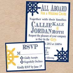 More Nautical Inspiration Wedding Invitation Response Card By Decorabledesigns Cruise Travel