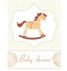 Baby shower rocking horse vector