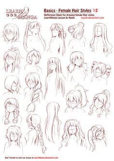 So much hair inspiration!  Learn Manga Basics Female Hair styles V2 by Naschi.deviantart.com on @DeviantArt