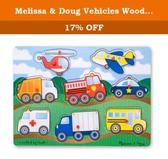 Melissa & Doug Vehicles Wooden Peg Puzzle (8 pcs). Go, go, go in your choice of vehicle with this colorful 8-piece wooden puzzle! The bright colors will catch your child's interest, and the pictures under the pieces and easy-grasp pegs will help to solve the puzzle. A great way to practice hand-eye coordination, fine motor skills, memory skills and more.