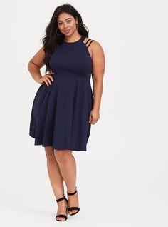 8cfdedbb82cda9 Navy Strappy High Neck Ponte Dress. Fat Girl FashionCurvy FashionWomens  FashionFormal FashionVacation DressesPlus Size ...