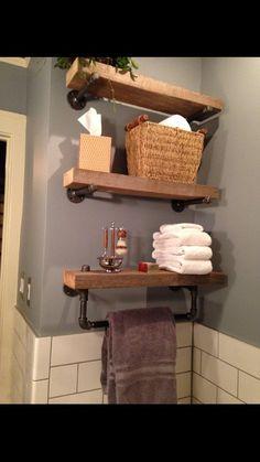 Another idea. Reclaimed Barn Wood Bathroom Shelves by on Etsy Barn Wood Bathroom, Bathroom Wood Shelves, Laundry Room Shelves, Small Bathroom Storage, Bathroom Closet, Laundry Rooms, Small Laundry, Wood Shelf, Towel Storage