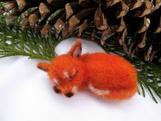 Sleeping Baby Red Fox, Needle Felted by softforest