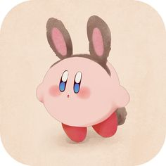 Kirby with bunny ears and tail