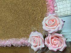 ハンドメイド:ピンクのかわいいコルクボード