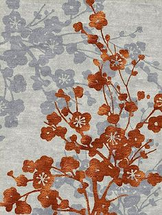 orange and grey flower carpet