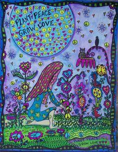 Psychedelic Hippie Art Plant Peace Grow LoveOriginal by ZetasAttic, $30.00