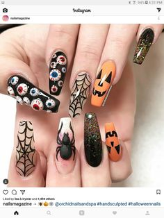 Cool Halloween Nail Art Designs for Creepy halloween nails; cute hallo… Cool Halloween Nail Art Designs for Creepy halloween nails; Holloween Nails, Cute Halloween Nails, Halloween Acrylic Nails, Halloween Nail Designs, Creepy Halloween, Halloween Coffin, Costume Halloween, Halloween Recipe, Halloween Party