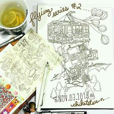 Look at this super fun #airship #penandink #drawing by @chikatetsu_n! Animals riding in a floating trolly piloted by a #koala supported by balloons and a #steampunk-looking #flying #machine piloted by a #bear! So much going on and I love it all! Great #illustration!