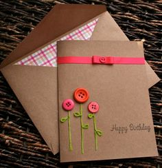 Button Flower Birthday Card with embroidered stems. you could easily make this (diy paper envelopes) Personalized Birthday Cards, Handmade Birthday Cards, Happy Birthday Cards, Greeting Cards Handmade, Greeting Cards For Birthday, Birthday Card With Name, Flower Birthday Cards, Flower Cards, Paper Cards