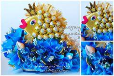 """Композиция """"Золотая рыбка""""(средняя) высота 30 см, длина 35 см, 70 конфет, в упаковке 2000 руб."""