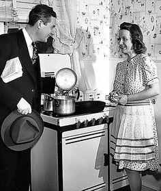 "Reminiscing on a simpler life.   ""Honey, I'm home, what smells so good?""   Circa 1940s"