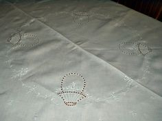 "Vintage 1920 1930 Oval Tablecloth Cutwork Embroidery Flora Motif 74"""" Long"