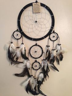 HANDMADE Traditional Dream Catcher colors Black White & Silver