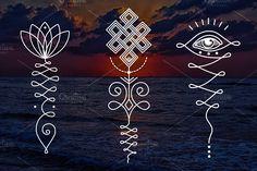 11 Unalome & lotus Sacred symbols - Illustrations
