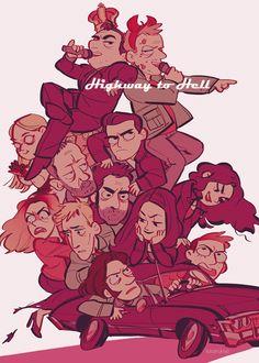 Crowley, Satan, Lillith, Alastair, Azazel, Michael, John Winchester, Bella, Adam, Ruby, Meg, Sam, and Dean