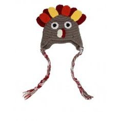 Crochet Turkey Hat- Brown Red Yellow and Orange