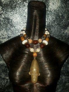 African Brass Mask Pendant Necklace Warrior Jewelry Unisex Exotic Ethnic Urban Tribal Boho Chic Earthy Amazonian Pagan Voodoo Hoodoo Shaman