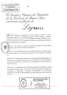 Ley 14.564 Obligatoriedad en prioridad de atención. by Web Master Bicentenario via slideshare