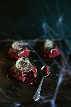 Halloween treat for adults: Classy but creepy Red Velvet Molten Lava cakes with spun sugar cobwebs are a perfect ending for a Halloween dinner party | Say Yes