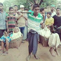 روهنجي يحمل والديه على كتفه لأيام هربا من بطش جيش مينمار