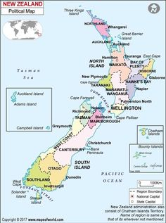 New Zealand Political Map - Laminated W x H) Nelson New Zealand, Map Of New Zealand, Chatham Islands, Bay Of Islands, East Cape, Federated States Of Micronesia, Kings Island, Country Maps, Travel Party