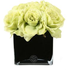 Herve Gambs Green Couture Rose & Large Black Glass Cube ($205) ❤ liked on Polyvore featuring home, home decor, floral decor, flowers, plants, fillers, backgrounds, decor, green and faux flowers