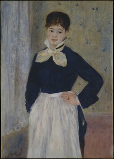 Auguste Renoir - A Waitress at Duval's Restaurant, ca. The Metropolitan Museum of Art, New York - Renoir portrays a waitress who worked at one of several Parisian restaurants established by a butcher named Duval. Pierre Auguste Renoir, French Impressionist Painters, Impressionist Artists, Edgar Degas, National Gallery Of Art, Georges Seurat, August Renoir, Renoir Paintings, Camille Pissarro