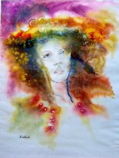 """Diliberto Anne Marie """"Florise"""" paper - 20 Inches x 26 Inches #woman #portrait #bright"""