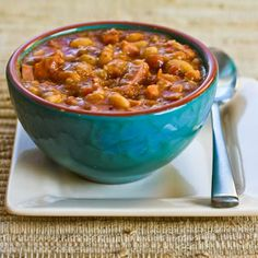 Navy Bean and Ham Stew with Leeks and Tomatoes, thickened with refried beans!  [Kalyn's Kitchen]