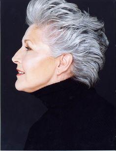 Model Paulette Osborne has edgy cut prevents old lady look