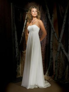 Georgette Softly Curved Neckline Embroidered Bodice Column Wedding Dress