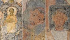 Basilica di Santa Sabina, Roma. Affresco della fine del VII-inizio del VIII secolo. Madonna col bambino, i santi Pietro e Paolo, due sante e i committenti.