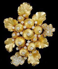DAVID WEBB BANGELES AND BRACELETS | DAVID WEBB 18k Gold Diamond Bracelet/Necklace, Pin & Earrings - Yafa ...