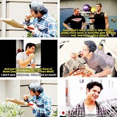 """I eat whatever I want. I'm 21-years-old, I can still get away with it. There are some strict regiment eatings, but I don't follow them. I don't abide. Tyler Hoechlin does, the new twin alphas do, Sinqua who plays Boyd and Daniel Sharman do."" - Tyler Posey."