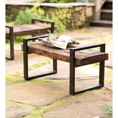 Plow & Hearth Reclaimed Wood and Iron Outdoor Garden Bench