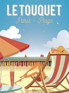Assise sur un transat sous le soleil du Touquet Paris Plage , quel bonheur! La mer de la Côte d'Opale, les cabines colorées, il fait bon de se détendre sur cette grande plage du Touquet! Cette affiche haute en couleur s'intégrera facilement dans un salon