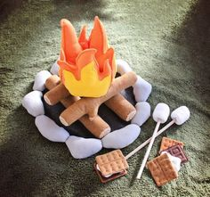 Felt campfire and smores for Drew's camping bedroom.