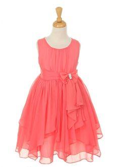 Girls Coral Dresses | Home » Coral Chiffon Girl Dress with Rhinestone